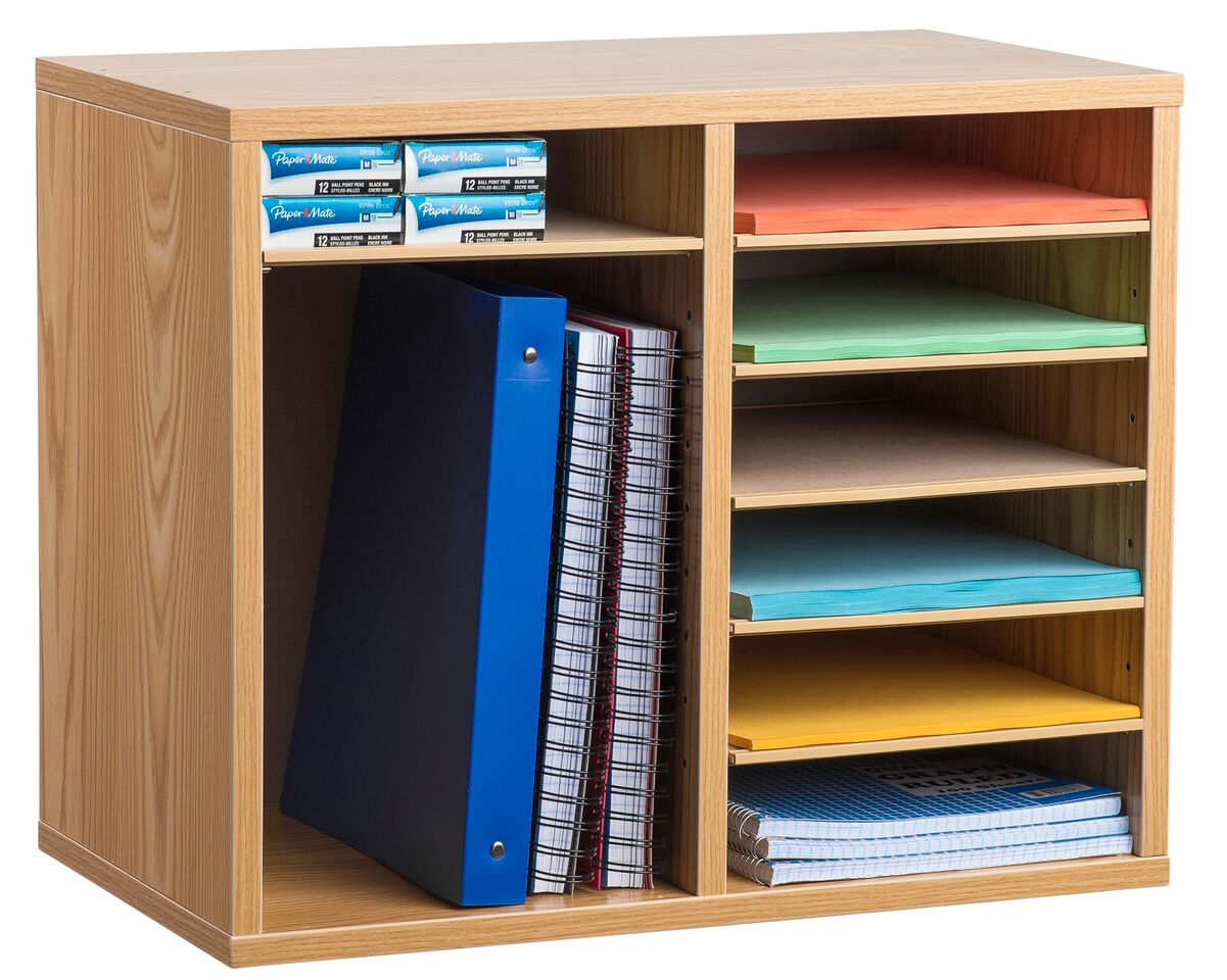 12 Compartment Wooden Literature Organizer