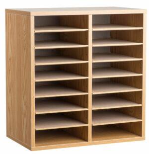 16 Compartment Wooden Literature Organizer