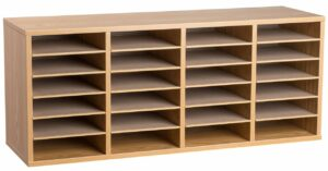 24 Compartment Wooden Literature Organizer
