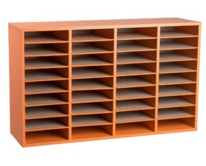 36 Compartment Wooden Literature Organizer