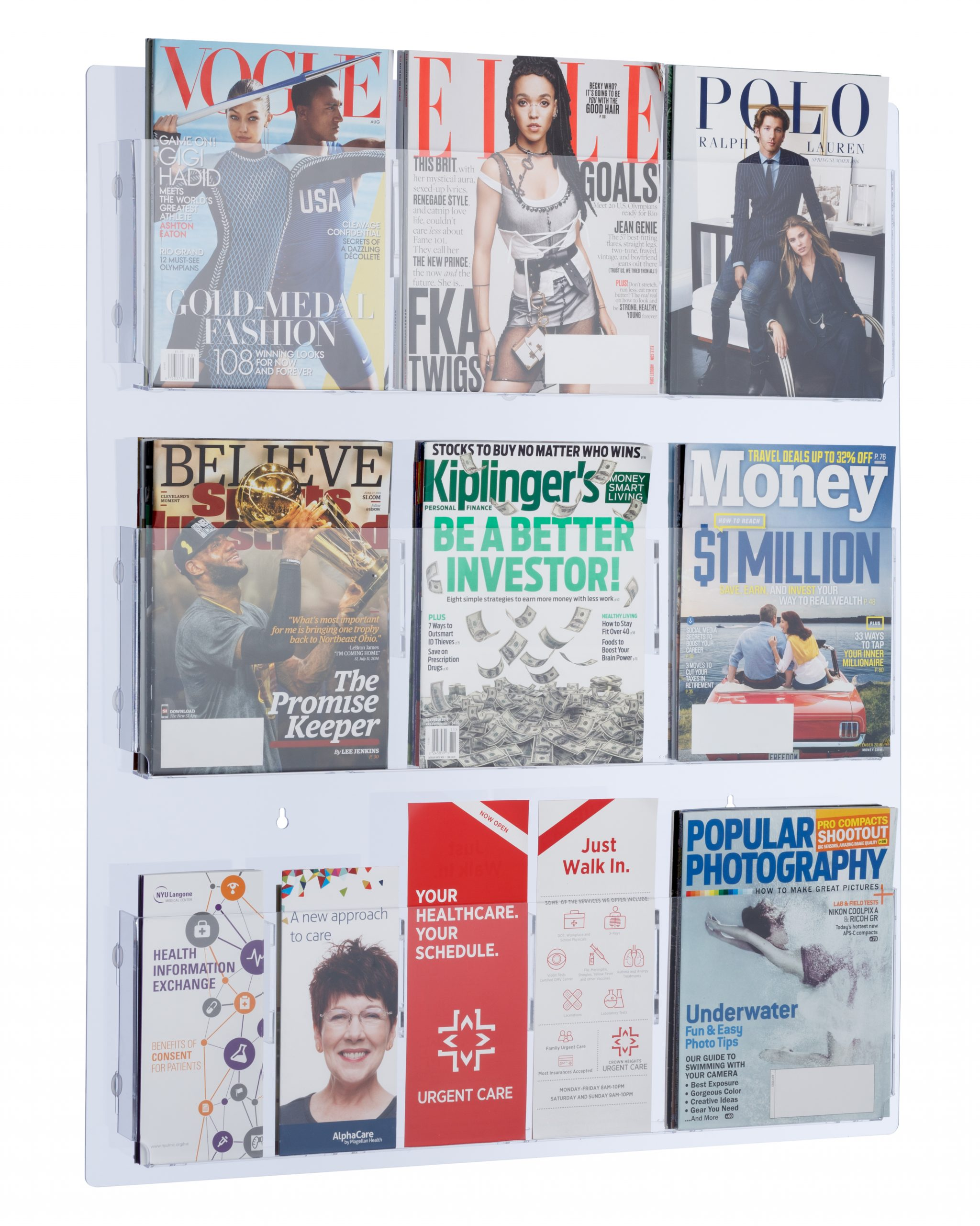 Hanging Magazine Rack with Clear Acrylic Adjustable Pockets