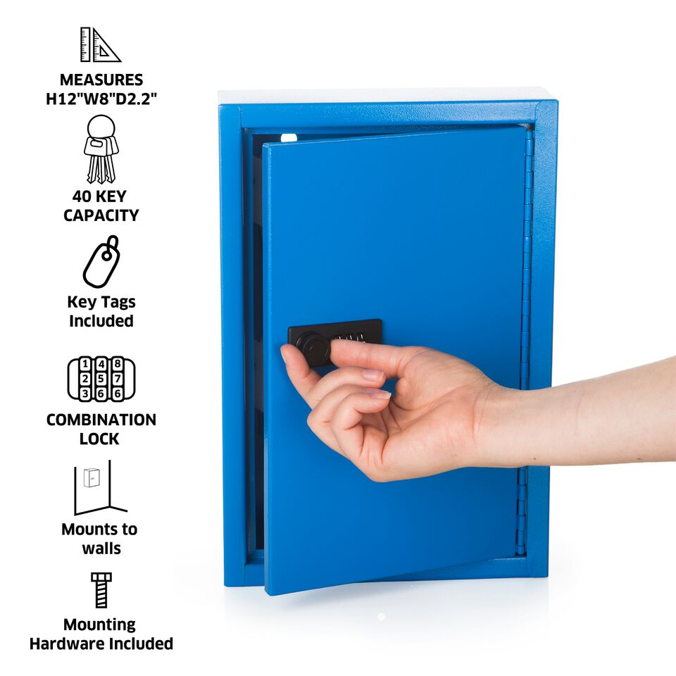 Key Cabinet with Combination Lock-40 Hooks