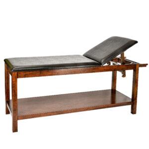 Mahogany Wooden Exam Table w/ Full Shelf