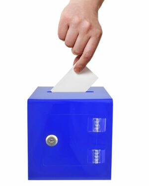 "6"" x 6'' Acrylic Ballot and Donation Box with Easy Open Rear Door"