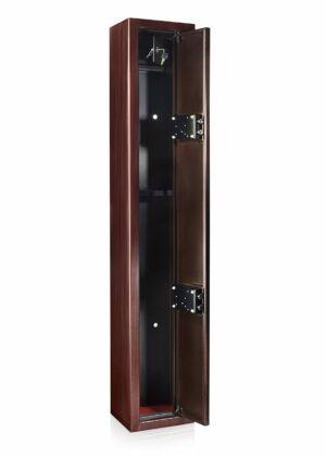 Dual Lock Steel Riffle Safe in Mahogany Finish