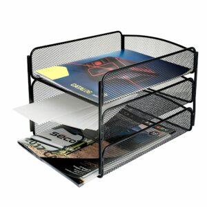 Mesh Desktop Organizer with Triple Tray