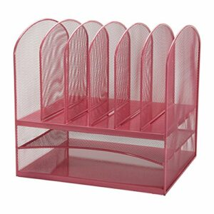 Mesh Desk Organizer - Two Horizontal and Six Upright Sections