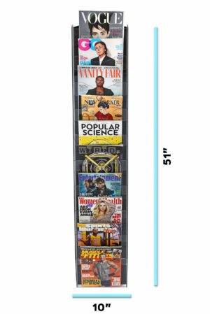 """Hanging Magazine Rack with Clear Acrylic Adjustable Pockets 51"""" x 20"""""""