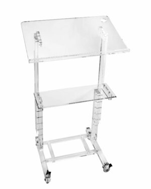 Stand Up Mobile Adjustable Height Acrylic Podium