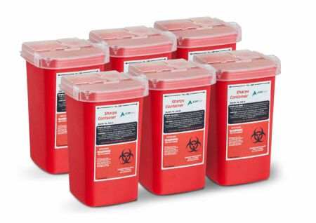 Sharps and Needle Disposal Container 1 Quart - 6 Pack