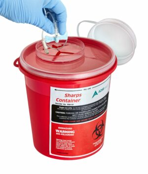 Sharps Container 5 Quart with Mailbox Style Horizontal Lid – 2 Pack