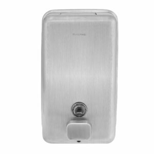 ALPINE INDUSTRIES MANUAL SURFACE-MOUNTED STAINLESS STEEL LIQUID SOAP DISPENSER WITH STAINLESS STEEL PUSH BUTTON, 40 OZ CAPACITY