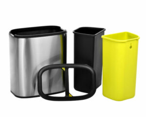 20 L / 5.3 GAL SLIM BRUSHED STAINLESS STEEL OPEN TRASH CAN DUAL COMPARTMENT