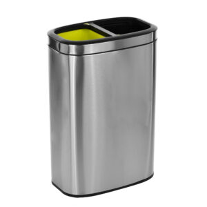 40 LITER / 10.5 GAL SLIM BRUSHED STAINLESS STEEL OPEN TRASH CAN DUAL COMPARTMENT