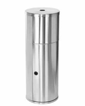 FLOOR STAND GYM WIPE DISPENSER, WITH HIGH CAPACITY BUILT-IN TRASH CAN, STAINLESS STEEL