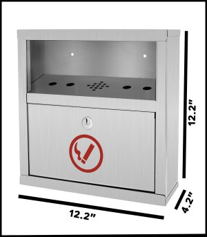 Stainless Steel All-In-One Wall Mounted Cigarette Disposal Station
