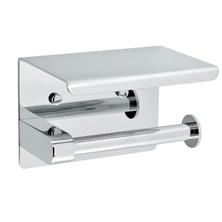 ALPINE INDUSTRIES SINGLE TOILET PAPER HOLDER WITH SHELF STORAGE RACK, BRUSHED STAINLESS