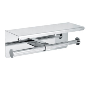 ALPINE INDUSTRIES DOUBLE TOILET PAPER HOLDER WITH SHELF STORAGE RACK, BRUSHED STAINLESS