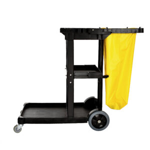 Alpine Industries Janitorial Cleaning Cart with 3 Shelves