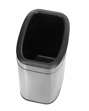 ALPINE INDUSTRIES 10 L / 2.6 GAL STAINLESS STEEL SLIM OPEN TRASH CAN, BRUSHED STAINLESS STEEL