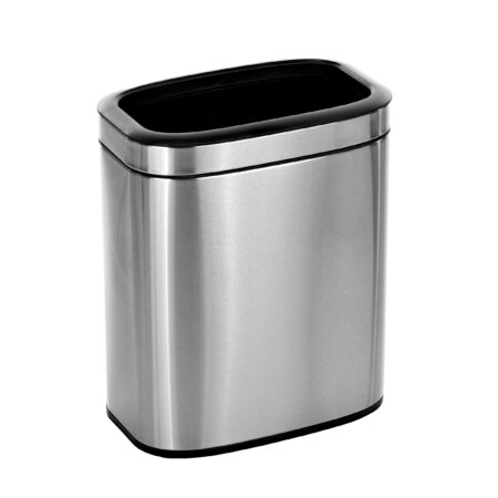 ALPINE INDUSTRIES 20 L / 5.3 GAL SLIM BRUSHED STAINLESS STEEL OPEN TRASH CAN