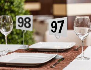 Double Sided Plastic Table Numbers, 4 by 4-Inch