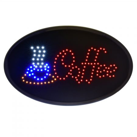 Alpine Industries LED Coffee Sign, Oval, 19 x 10