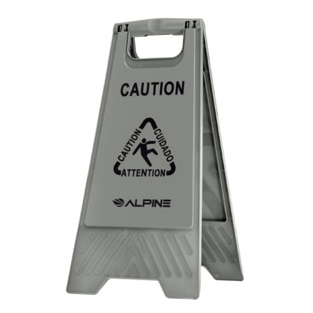 "Alpine Industries 24"" Caution Wet Floor Sign, Gray"