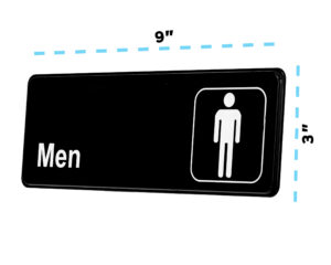 ALPINE INDUSTRIES MENS RESTROOM SIGN, 3×9
