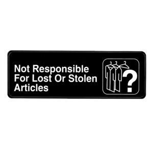 ALPINE INDUSTRIES NOT RESPONSIBLE FOR LOST OR STOLEN ARTICLES SIGN, 3×9