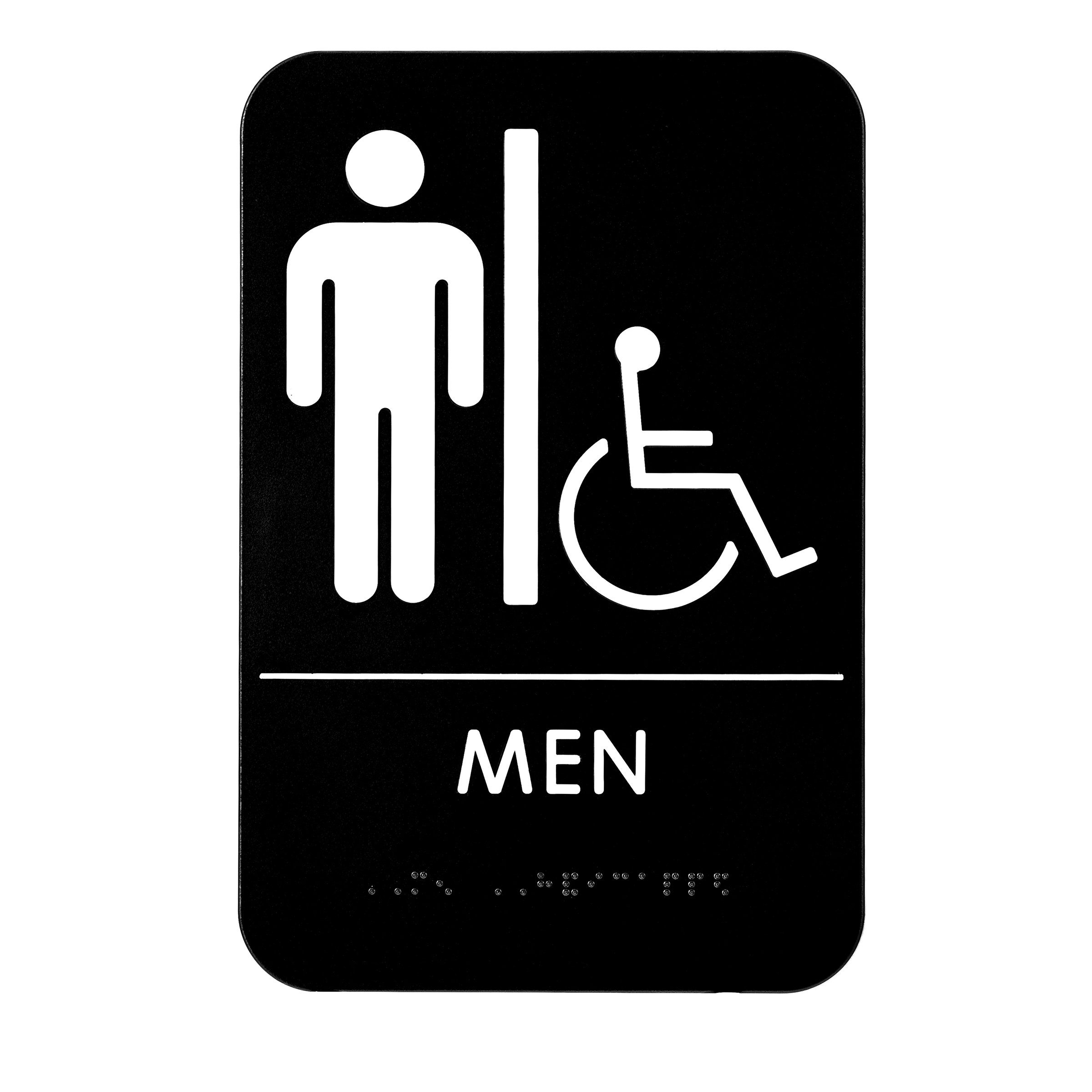 Alpine Industries Mens Braille Handicapped Restroom Sign, Black/White, ADA Compliant, 6x9