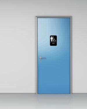 Alpine Industries Mens Braille Handicapped Restroom Sign, Black/White, ADA Compliant, 6x9