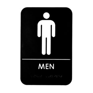 Alpine Industries Mens Braille Restroom Sign, Black/White, ADA Compliant, 6x9