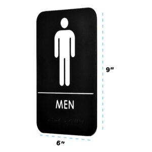 Alpine Industries Mens Braille Restroom Sign, Black/White, ADA Compliant, 6x9