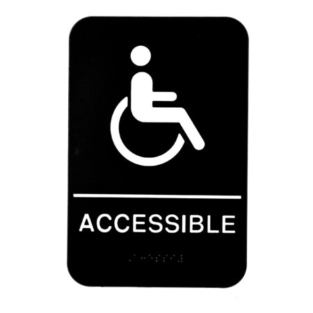 ALPINE INDUSTRIES ADA HANDICAP ACCESSIBLE SIGN WITH BRAILLE, BLACK/WHITE, ADA COMPLIANT, 6″X9″