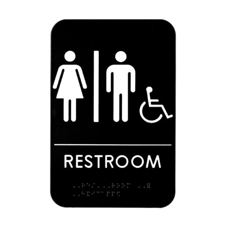 Alpine Industries Unisex Handicap Braille Restroom Sign, Black/White, ADA Compliant, 6x9