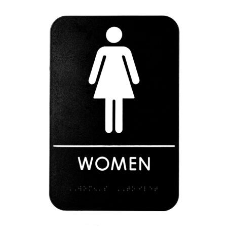 Alpine Industries Womens Braille Restroom Sign, Black/White, ADA Compliant, 6x9