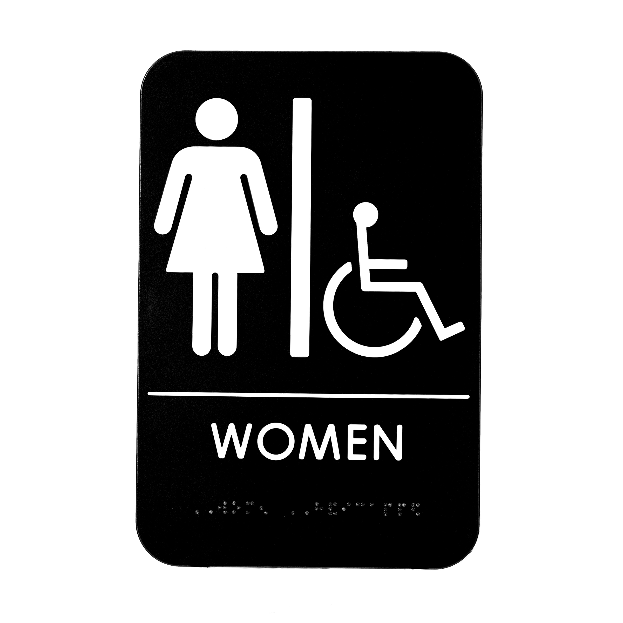Alpine Industries Womens Braille Handicapped Restroom Sign, Black/White, ADA Compliant, 6x9