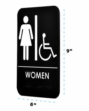 Alpine Industries Womens Braille Handicapped Restroom Sign, Black/White, ADA Compliant, 6x9