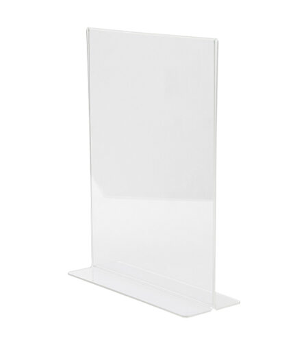 """ALPINE INDUSTRIES 8.5"""" X 11"""" CLEAR ACRYLIC, T-SHAPED BASE, SIDE INSERT, TABLETOP SIGN HOLDER"""