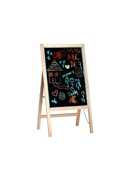 LED ILLUMINATED WOODEN MESSAGE WRITING BOARD ON AN A-STAND