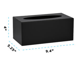 BLACK ACRYLIC TISSUE BOX COVER 10″ X 5.5″ X 4″0″ X 5.5″ X 4″