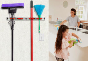 Alpine Industries Mop and Broom Holder, 4 holders and 5 hooks