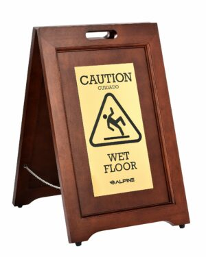 ALPINE INDUSTRIES 2-SIDED BRASS PLATED WET FLOOR SIGN