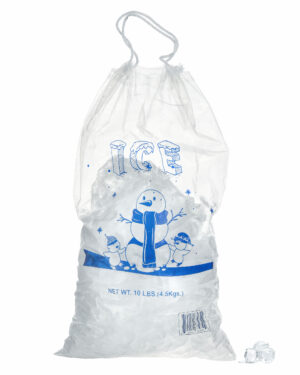 10 LB. CLEAR PLASTIC ICE BAG WITH COTTON DRAWSTRING, 1.5 MIL ? 100 BAGS