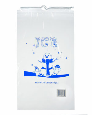 10 LB. CLEAR PLASTIC ICE BAG WITH COTTON DRAWSTRING, 1.5 MIL – 50 BAGS