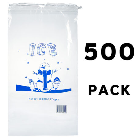20 LB. CLEAR PLASTIC ICE BAG WITH COTTON DRAWSTRING, 1.75 MIL – 500 BAGS