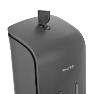 ALPINE INDUSTRIES ALP426-GRY DOUBLE SOAP & HAND SANITIZER DISPENSER, SURFACE MOUNTED, 2 X 18.5 OZ CAPACITY GRAY