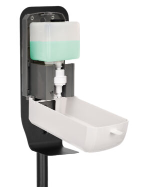 AUTOMATIC HANDS-FREE FOAM HAND SANITIZER/SOAP DISPENSER WITH FLOOR STAND, 1200 ML, WHITE