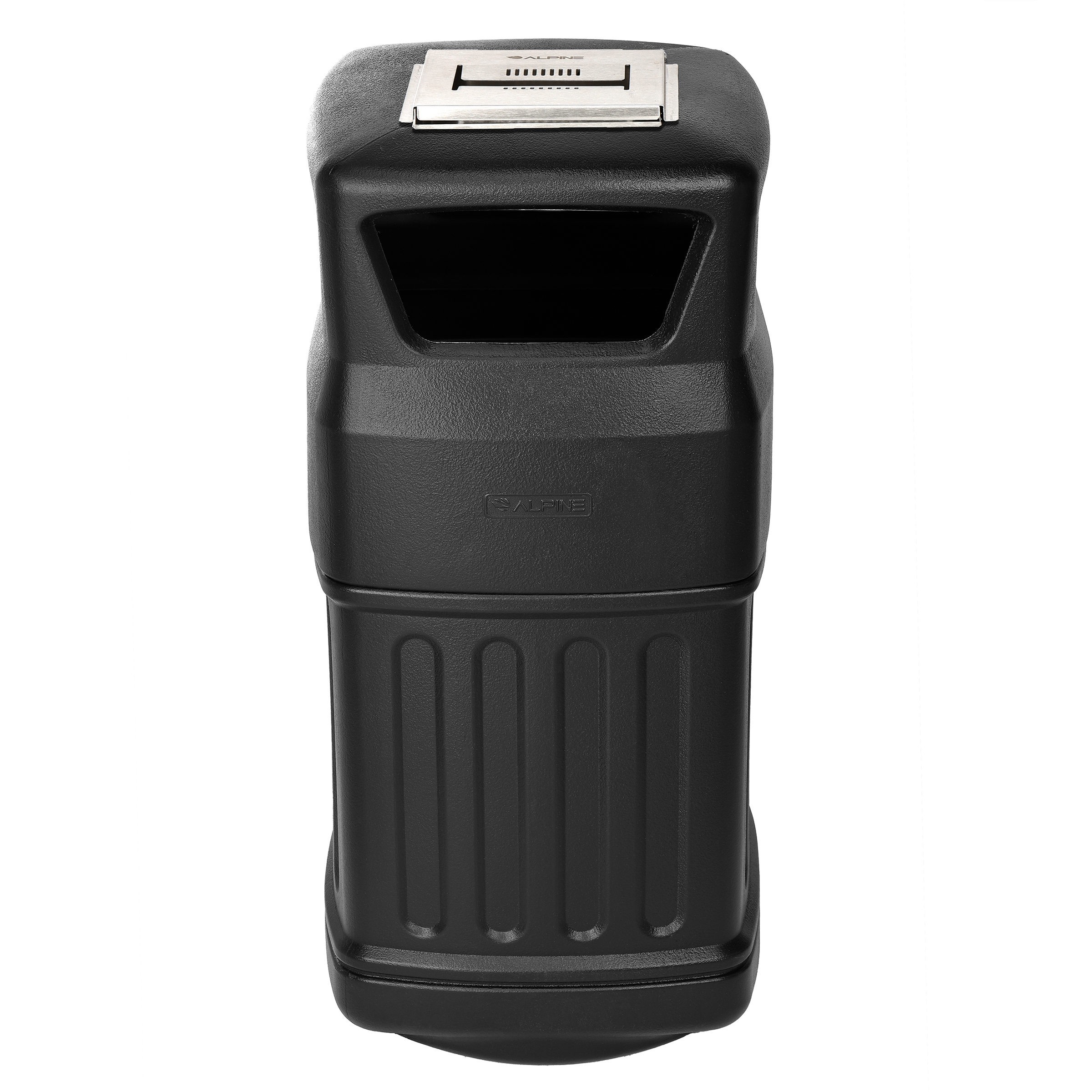 ALPINE INDUSTRIES OUTDOOR/INDOOR TRASH CAN WITH ASH URN, BLACK, 16-GALLON CAPACITY